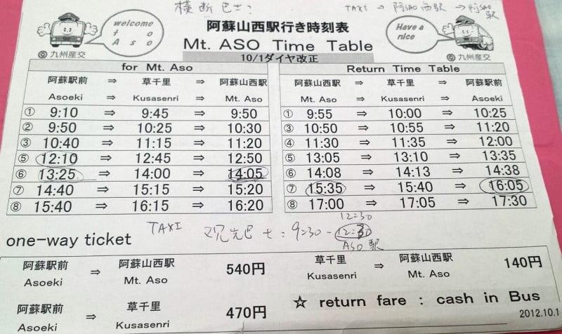 往阿蘇西站的巴士時間表