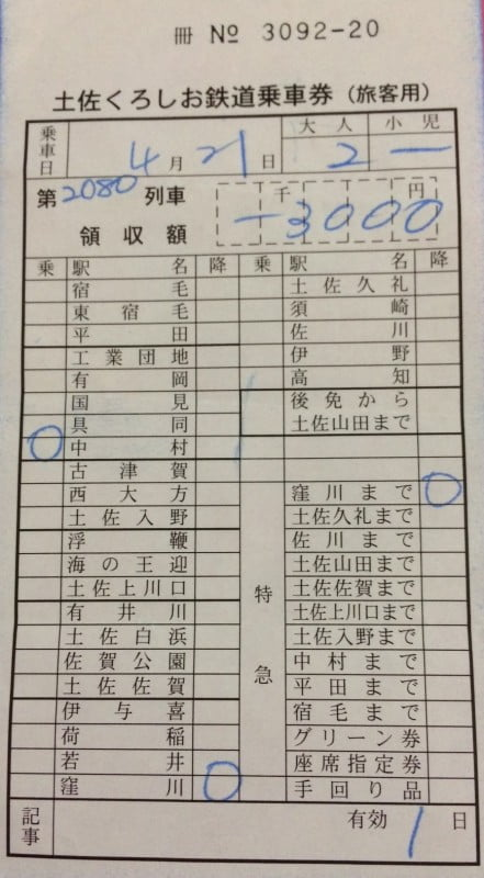 中村駅補票