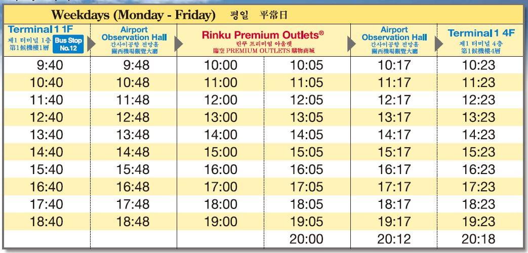 rinku timetable bus timetable 1