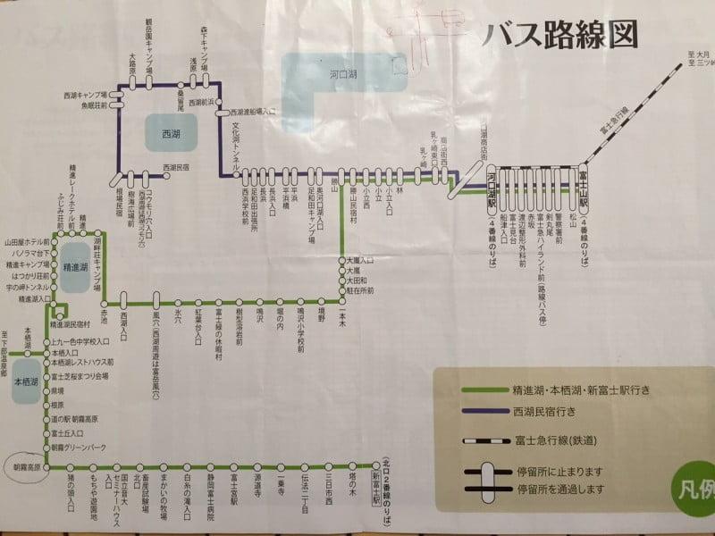 富士急行巴士 - 路線圖