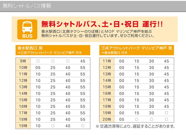 往神戶三井outlet巴士時間表