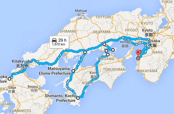 日本瀨戶內四國單車之旅福岡和歌山追櫻自由行行程圖