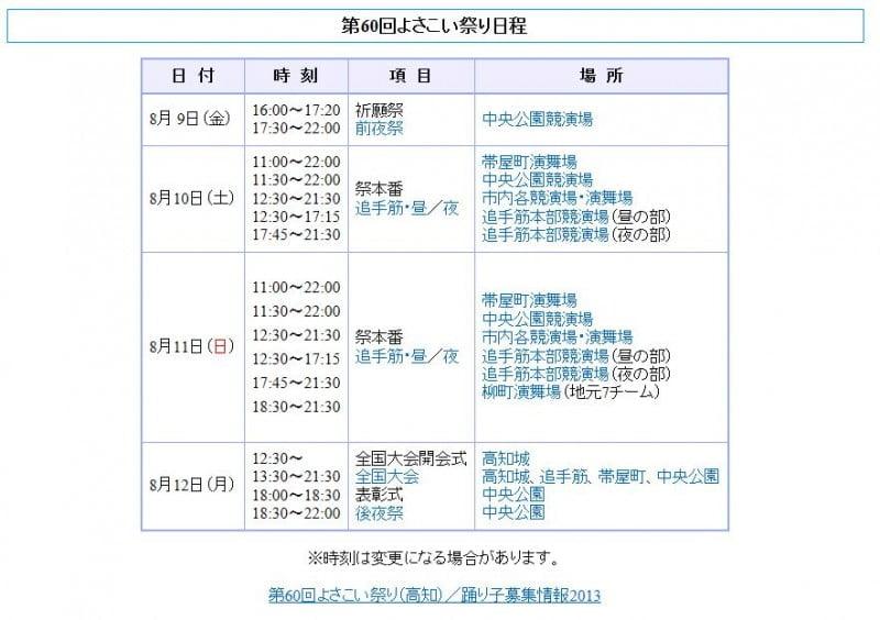 高知 Yosakoi祭 2013日程