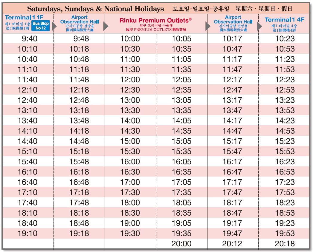 rinku timetable bus timetable 2