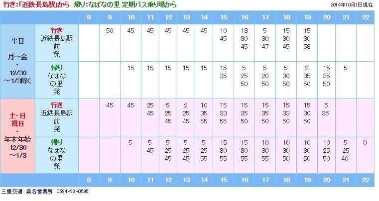 由長島駅往名花之里的巴士班次